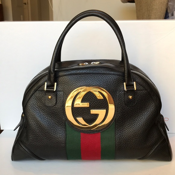 13cb63fea6ece7 Gucci Handbags - Gucci Blondie Bowler authentic! Black leather web